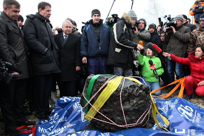 What scientists believe is a chunk of a space rock recovered in Chelyabinsk, Russia, in 2013.