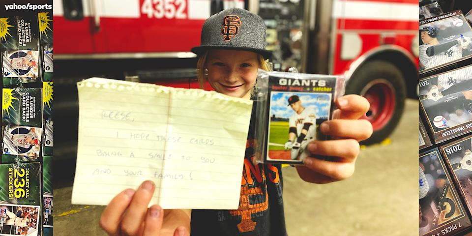Reese Osterberg lost her house and baseball cards in the Creek Fire, but people around the country helped rebuild her collection. Now she has a plan to pay it forward.(Mike Oz/Yahoo Sports)