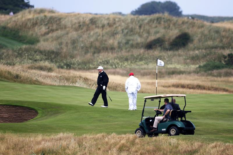 President Donald Trump walks off the 4th green while playing at Turnberry golf club in Turnberry, Scotland, on July 14, 2018. (Photo: Peter Morrison/ASSOCIATED PRESS)