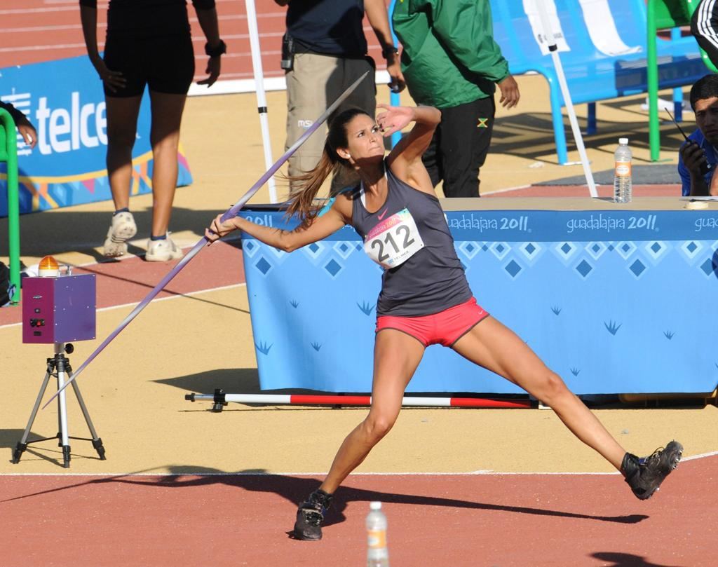"Paraguay's Leryn Franco throws the Javelin at the 2011 Pan-American Games, held at the track of ""Estadio Telmex"" on October 27, 2011 in Guadalajara, Mexico. Franco was thirteenth with a 48.70m performance. (Photo by Eduardo G Biscayart/LatinContent/Getty Images)"