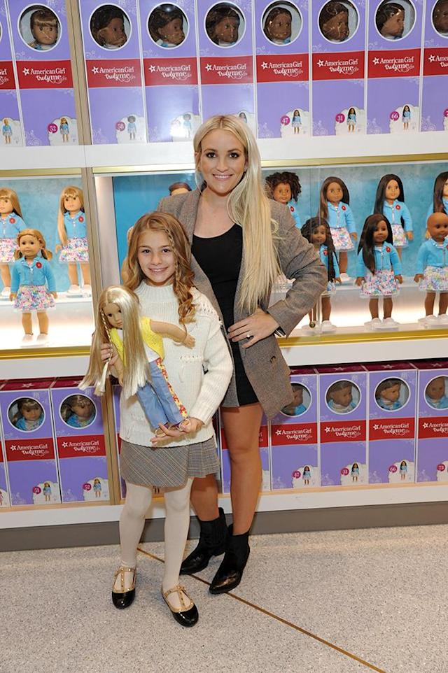 <p>Jamie Lynn Spears posed with her happy and healthy-looking daughter, Maddie Aldridge, at the American Girl Place New York Grand Opening Benefit on Saturday. Britney's niece has made a full recovery after her ATV accident in February, and enjoyed her day at American Girl, shopping and getting styled. (Photo: Startraks Photo) </p>