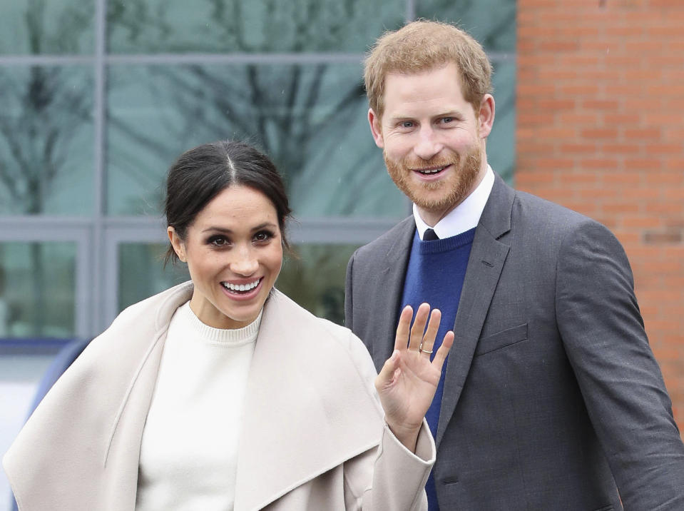 """January 20th 2020 - Buckingham Palace has announced that Prince Harry and Duchess Meghan will no longer use """"royal highness"""" titles and will not receive public money for their royal duties. Additionally, as part of the terms of surrendering their royal responsibilities, Harry and Meghan will repay the $3.1 million cost of taxpayers' money that was spent renovating Frogmore Cottage - their home near Windsor Castle. - January 9th 2020 - Prince Harry The Duke of Sussex and Duchess Meghan of Sussex intend to step back their duties and responsibilities as senior members of the British Royal Family. - File Photo by: zz/KGC-178/STAR MAX/IPx 2018 3/23/18 Meghan Markle and Prince Harry visit Northern Ireland."""