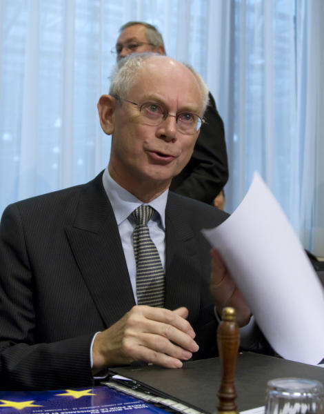 European Council President Herman Van Rompuy speaks during a tripartite social summit at the EU Council building in Brussels on Thursday, Oct. 18, 2012. European leaders are gathering again in Brussels to discuss how to save the euro currency from collapse and support countries facing too much debt and not enough growth. (AP Photo/Virginia Mayo)