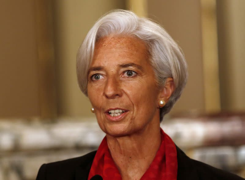 IMF Managing Director Lagarde speaks to the media in Lima