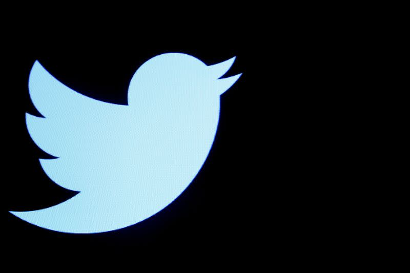 FILE PHOTO: The Twitter logo displayed on a screen on the floor of the NYSE