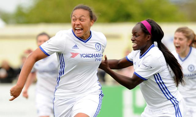 Drew Spence, left, with her Chelsea team-mate Eni Aluko. They allege Mark Sampson made racial remarks to them, which the England manager denies.