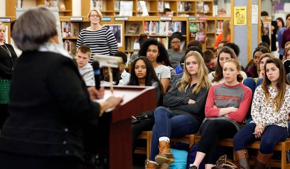 Students at Lafayette High School listened Wednesday as Helen Caise Wade talked about being the first black student to integrate a Fayette County school in summer 1955.