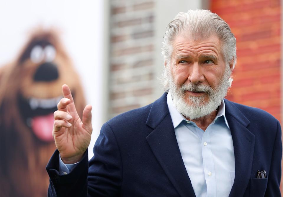 """Harrison Ford poses at the premiere for """"The Secret Life of Pets 2"""" in Los Angeles, California, U.S., June 2, 2019. REUTERS/Mario Anzuoni"""