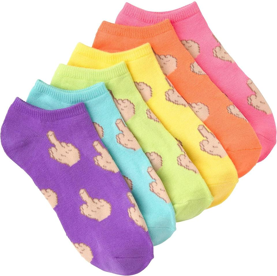 <p>You can never go wrong with a pair of socks, and these <span>K. Bell Women's 6 Pack Novelty No Show Low Cut Socks</span> ($12) are perfect. These bright and colorful socks depict the next best thing to saying the F-bomb: the middle finger!</p>
