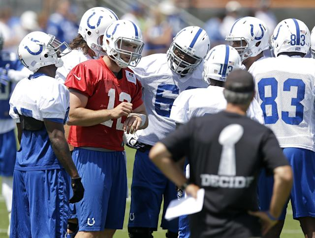 Indianapolis Colts quarterback Andrew Luck calls a play in the huddle as head coach Chuck Pagano, right front, looks on during the NFL team's football training camp in Anderson, Ind., Thursday, July 24, 2014. (AP Photo)