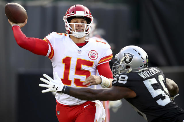 FILE - In this Dec. 2, 2018, file photo, Kansas City Chiefs quarterback Patrick Mahomes (15) passes against Oakland Raiders linebacker Tahir Whitehead (59) during the second half of an NFL football game in Oakland, Calif. I think the message for the whole team is were not satisfied with where were at, says Chiefs quarterback Patrick Mahomes. Kansas City can clinch top seed in the AFC and the AFC West under certain circumstances. (AP Photo/Ben Margot, File)