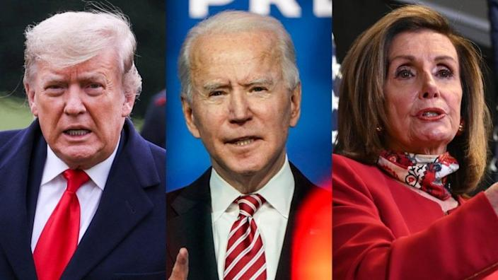 Will President Donald Trump's attempt to wrest a won presidency from newly-elected Joe Biden find some serious resistance from House Speaker Nancy Pelosi this week? We'll certainly know soon. (Photos by Tasos Katopodis/Getty Images, Joshua Roberts/Getty Images and by Erin Scott – Pool/Getty Images)