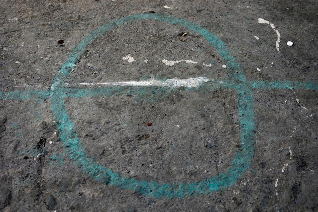 "A marking is seen on a pitch where children play soccer in the old city of Algiers Al Casbah, Algeria, May 9, 2018. REUTERS/Zohra Bensemra SEARCH ""FOOTBALL GLOBAL"" FOR THIS STORY. SEARCH ""WIDER IMAGE"" FOR ALL STORIES."