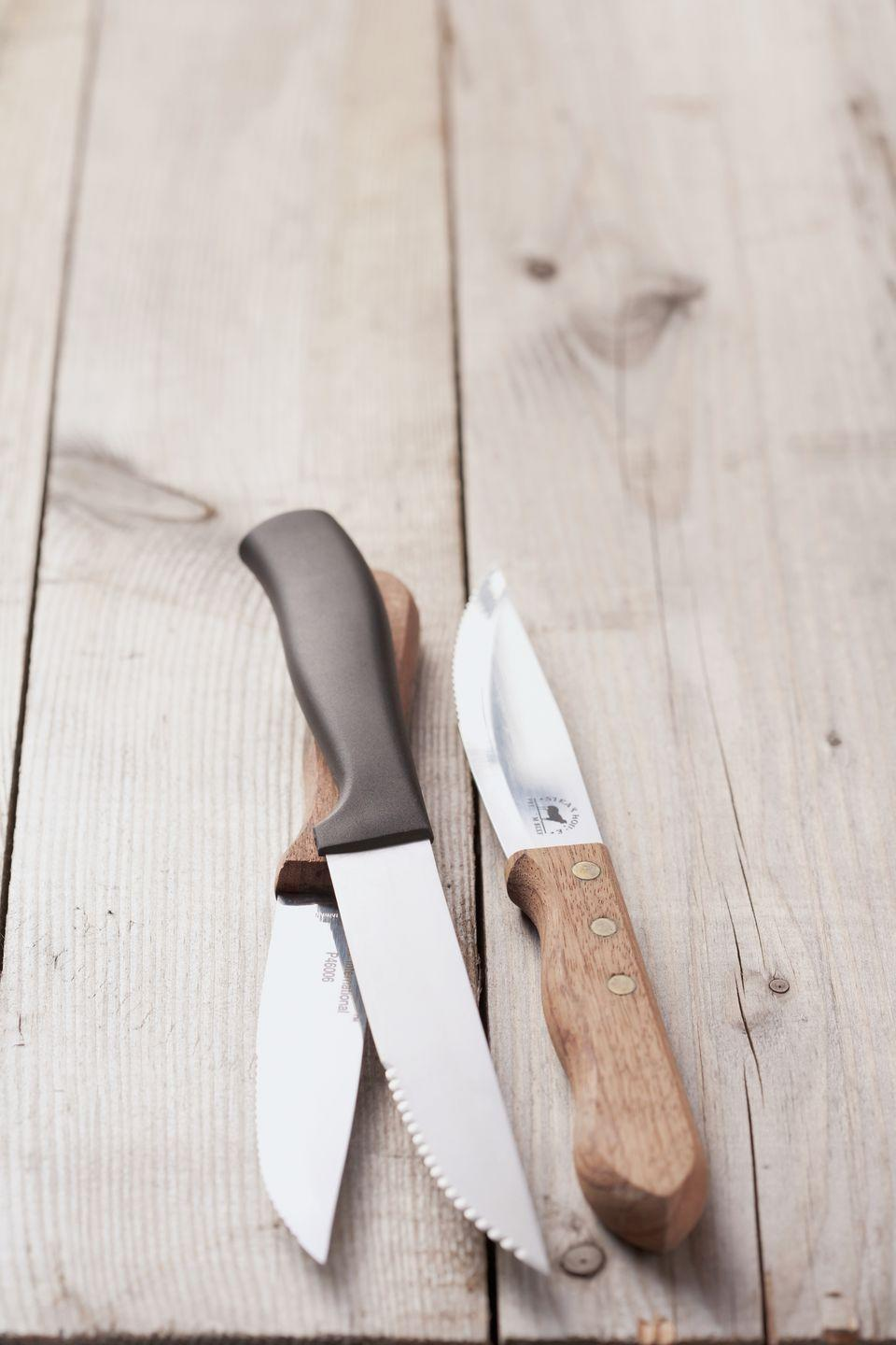 "<p>Especially steak knives that were cheap to begin with and can't easily be sharpened. They're actually more harmful and dangerous than your sharpest knife. <a href=""http://lifehacker.com/5989542/what-is-the-proper-way-to-dispose-of-a-kitchen-knife"" rel=""nofollow noopener"" target=""_blank"" data-ylk=""slk:Donate"" class=""link rapid-noclick-resp"">Donate</a> old knives, but make sure you wrap the blade with cardboard beforehand (and label it!) for safety. </p><p> <a class=""link rapid-noclick-resp"" href=""https://www.amazon.com/Emojoy-Pakkawood-Resistant-Stainless-Serrated/dp/B079GQJP39?tag=syn-yahoo-20&ascsubtag=%5Bartid%7C10070.g.30809532%5Bsrc%7Cyahoo-us"" rel=""nofollow noopener"" target=""_blank"" data-ylk=""slk:SHOP NEW STEAK KNIVES"">SHOP NEW STEAK KNIVES</a></p>"