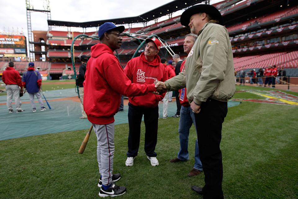 ST LOUIS, MO - OCTOBER 20: Manager Ron Washington of the Texas Rangers meets country star Trace Atkins prior to Game Two of the MLB World Series against the St. Louis Cardinals at Busch Stadium on October 20, 2011 in St Louis, Missouri. (Photo by Jamie Squire/Getty Images)