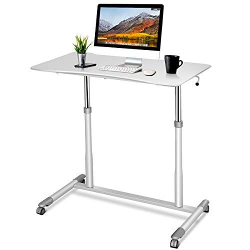 Tangkula Standing Desk Computer Desk, Height Adjustable Desk Sit Stand Desk with 4 Movable Wheels, Portable Writing Study Laptop Table of Iron Pipe Frame, MDF, PVC Tabletop - White (Amazon / Amazon)
