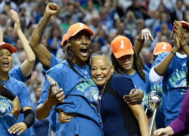 "The <a class=""link rapid-noclick-resp"" href=""/wnba/teams/min"" data-ylk=""slk:Minnesota Lynx"">Minnesota Lynx</a> played their 2017 championship video during the <a class=""link rapid-noclick-resp"" href=""/wnba/teams/los"" data-ylk=""slk:Los Angeles Sparks"">Los Angeles Sparks</a>' practice on Sunday afternoon ahead of their season opener in Minneapolis. (Getty Images)"