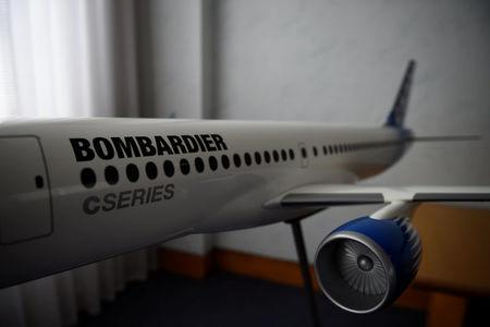 A model of Bombardier C Series aeroplane is seen in the Bombardier offices in Belfast, Northern Ireland September 26, 2017. REUTERS/Clodagh Kilcoyne