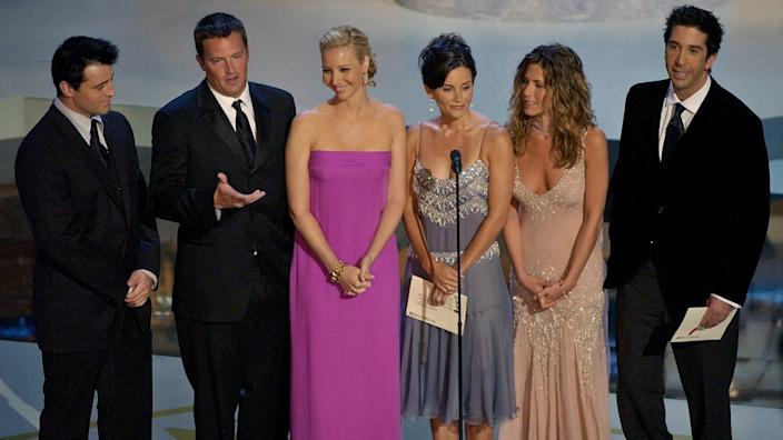 The reunion special offers fans a rare glimpse of the six stars together on the same stage once again.