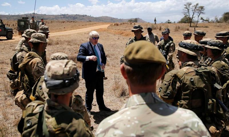 Boris Johnson with British troops