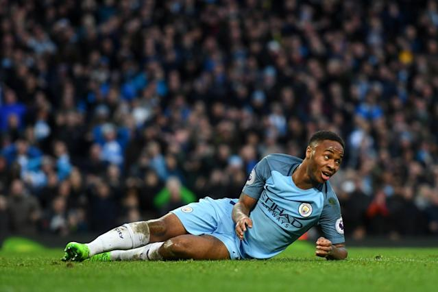 <p>Raheem Sterling is floored by Mignolet </p>