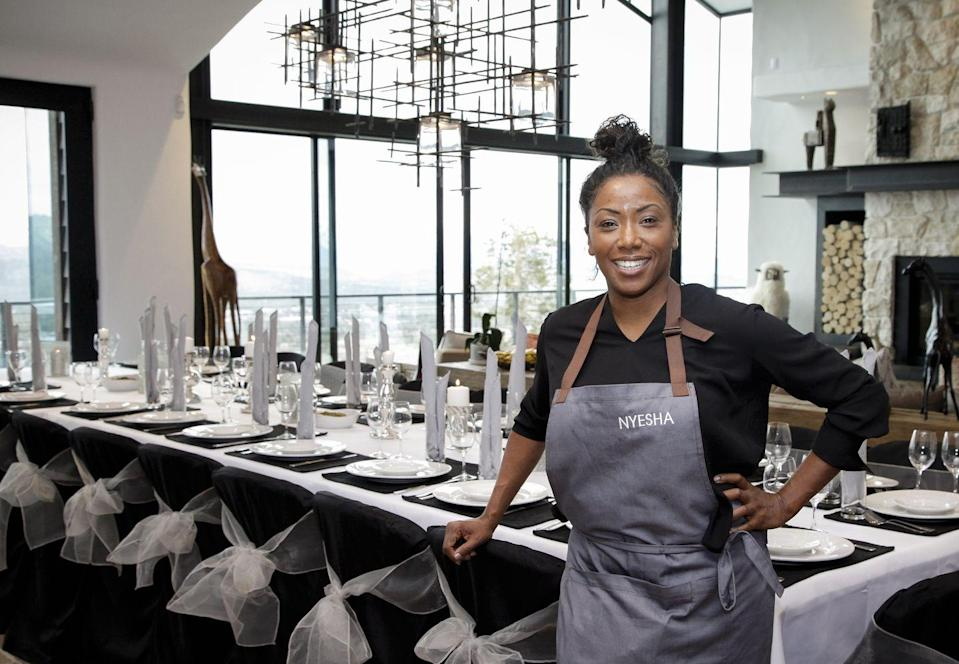 """<p>In 2014, Nyesha returned to TV and won <em>Knife Fight. </em>She also appeared on <em>Top Chef</em> as a guest judge. In 2019, the chef <a href=""""http://eater.com/2019/8/14/20798466/nyesha-arrington-top-chef-native-leona-interview"""" rel=""""nofollow noopener"""" target=""""_blank"""" data-ylk=""""slk:closed down her restaurant"""" class=""""link rapid-noclick-resp"""">closed down her restaurant</a>, Native. </p>"""