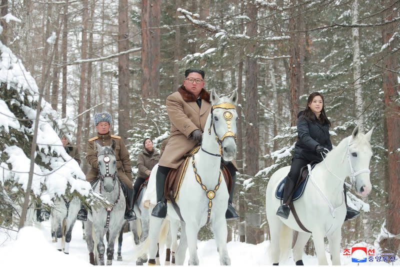 KCNA picture of North Korean leader Kim Jong Un visiting battle sites in areas of Mt Paektu