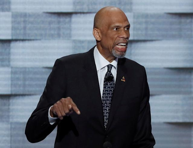 FILE PHOTO: NBA basketball Hall of Famer Kareem Abdul-Jabaar speaks on the final night of the Democratic National Convention in Philadelphia, Pennsylvania, U.S. on July 28, 2016. REUTERS/Mike Segar/File Photo