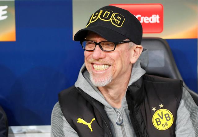 Soccer Football - Europa League Round of 16 Second Leg - RB Salzburg vs Borussia Dortmund - Red Bull Arena Salzburg, Salzburg, Austria - March 15, 2018 Borussia Dortmund coach Peter Stoeger before the match REUTERS/Leonhard Foeger