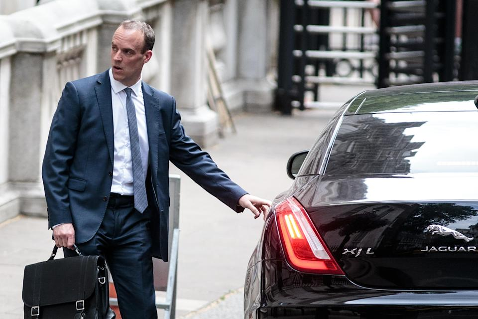 Dominic Raab this morning after being announced as Brexit Secretary (Getty)