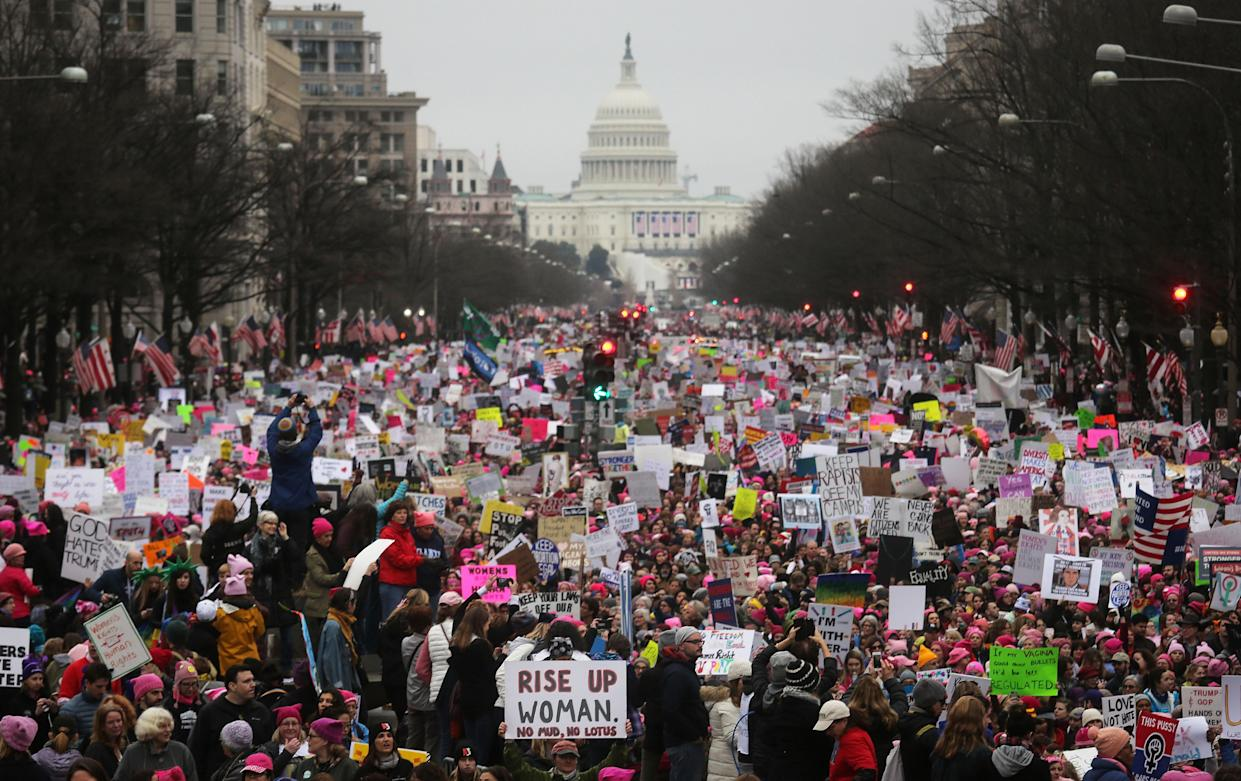 Protesters walk during the Women's March on Washington on Jan. 21, 2017, in Washington, D.C. (Photo: Mario Tama/Getty Images)