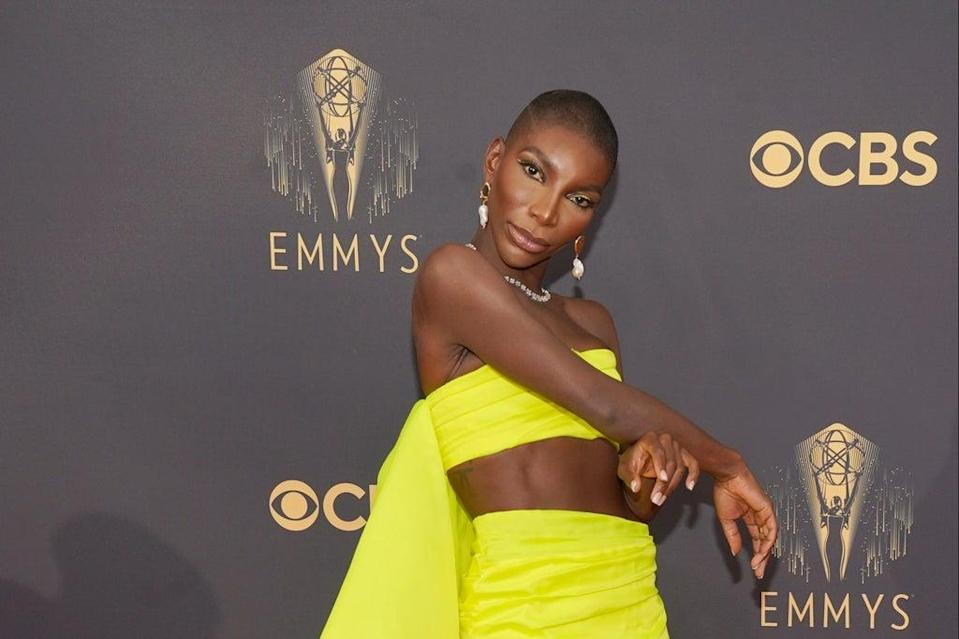 Michaela Coel arrives at the 73rd Primetime Emmy Awards (Chris Pizzello/Invision/AP)
