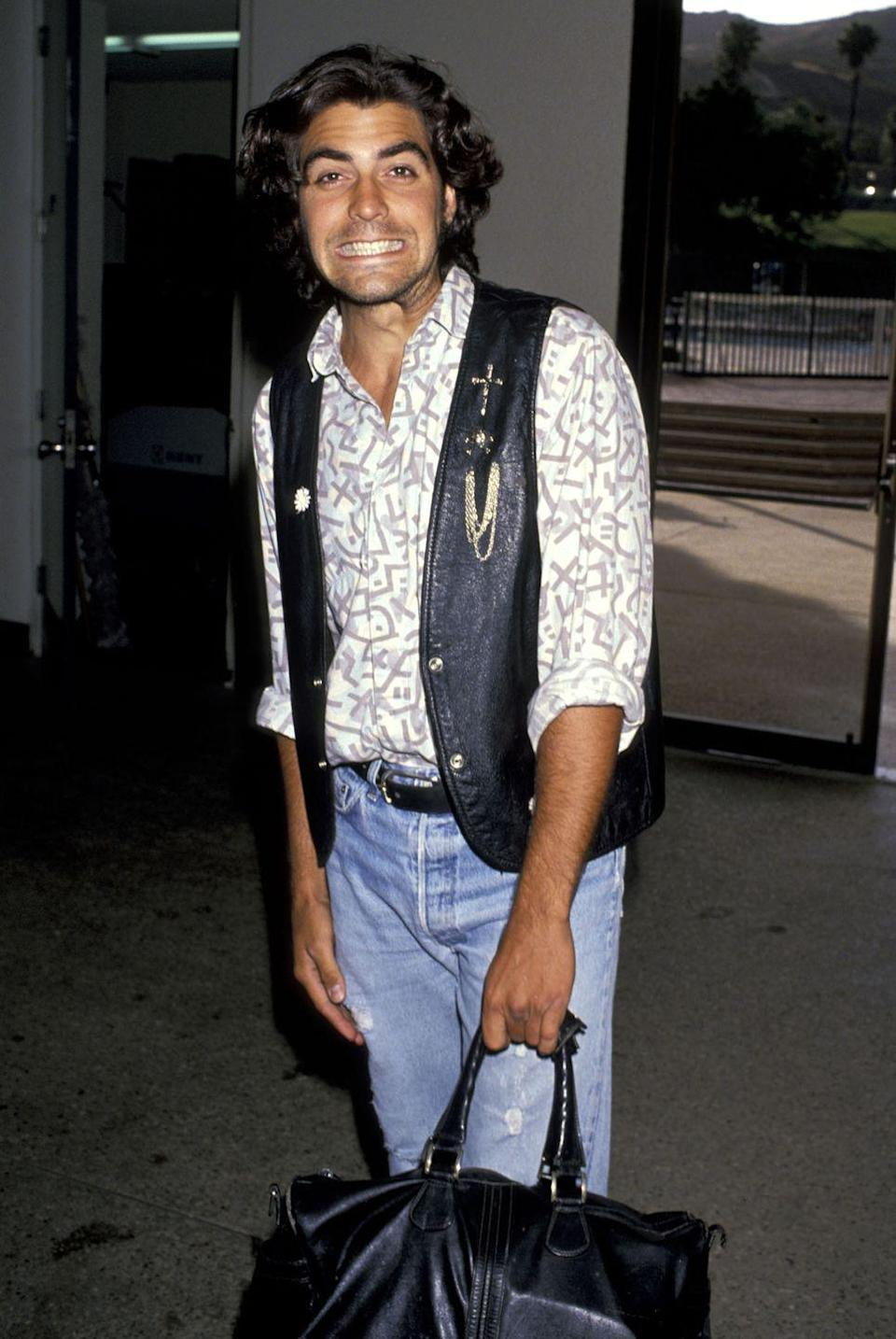 <p>Clooney attending a celebrity basketball game on June 24, 1989 in Malibu, California.</p>