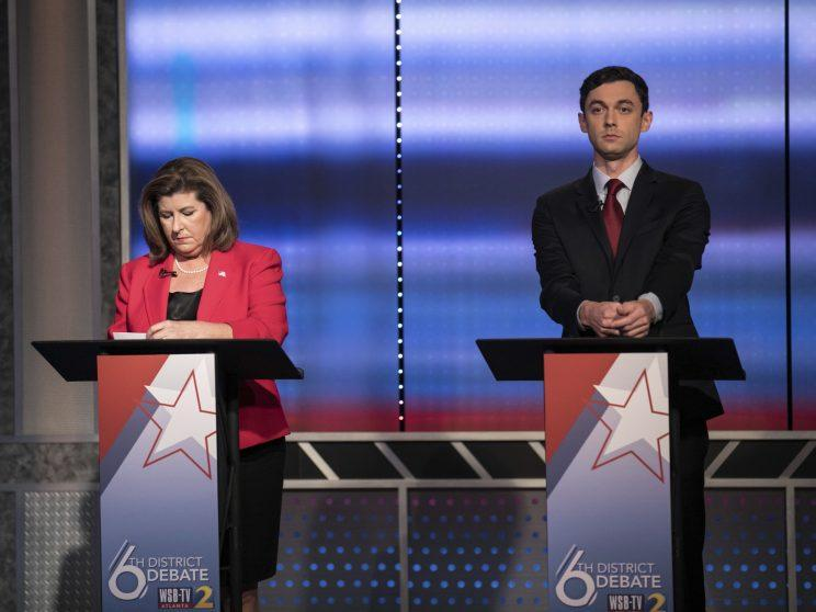Candidates in Georgia's 6th Congressional District race Republican Karen Handel, left, and Democrat Jon Ossoff during a debate on June 6, 2017, in Atlanta. (Photo: Branden Camp/Atlanta Journal-Constitution via AP)
