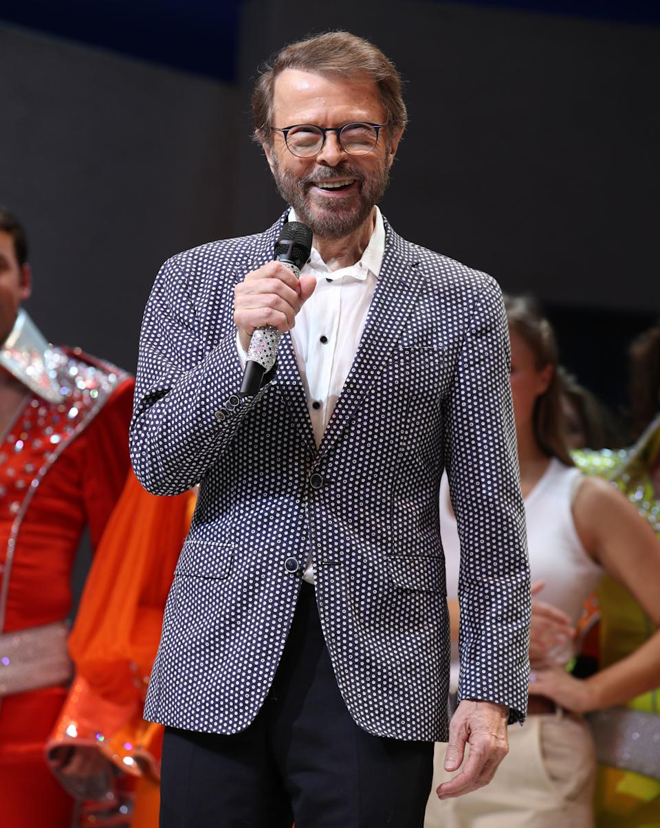 Bjorn Ulvaeus on stage during the finale of the musical Mamma Mia!, which celebrates its 20th anniversary at the Novello Theatre in London. (Photo by Yui Mok/PA Images via Getty Images)