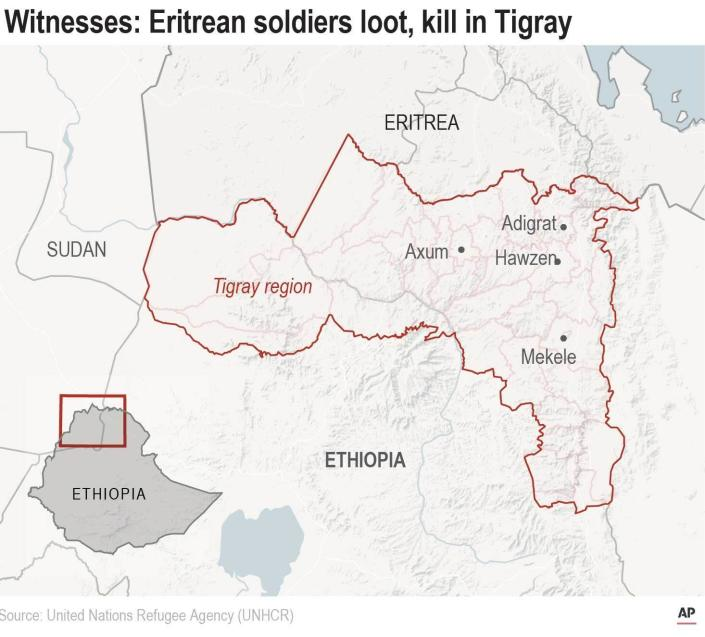 Map locates key cities in Ethiopia's Tigray region. Millions of Tigray residents, still largely cut off from the world, live in fear of Eritrean soldiers.