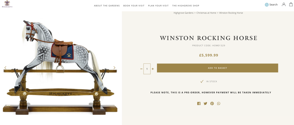 The rocking horse is made to order. (Highgrove House)