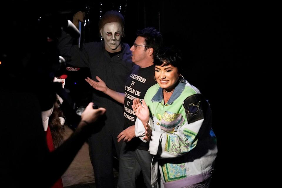 <p>scaring <em>The Ellen DeGeneres Show</em> producer Andy Lassner at Halloween Horror Nights at Universal Studios Hollywood on the Oct. 4 show.</p>