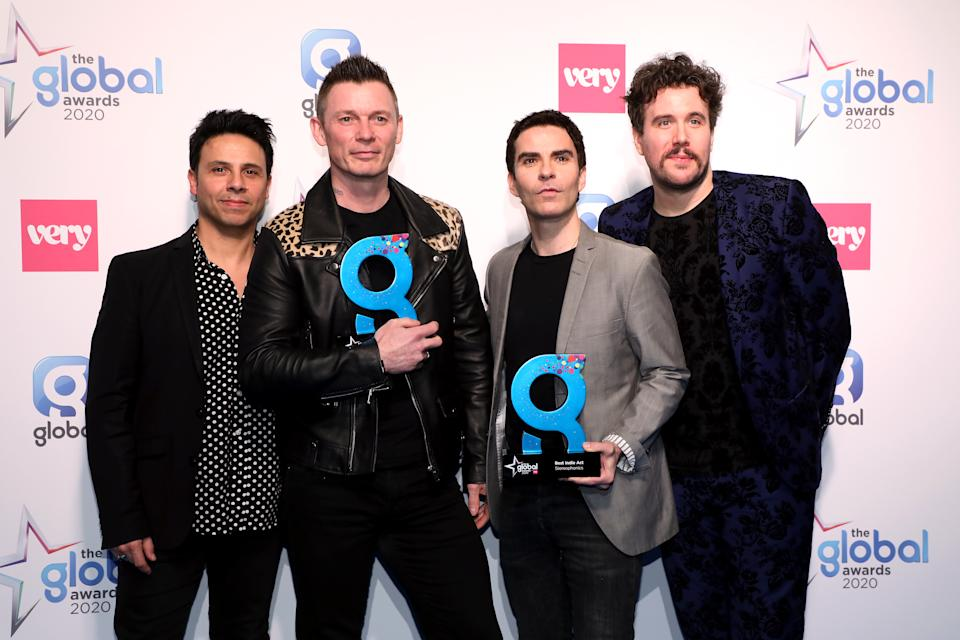 Adam Zindani, Richard Jones, Kelly Jones and Jamie Morrison of the Stereophonics winners of the Best Indie Act and Global Special Award at The Global Awards 2020 with Very.co.uk at London's Eventim Apollo Hammersmith. (Photo by Lia Toby/PA Images via Getty Images)