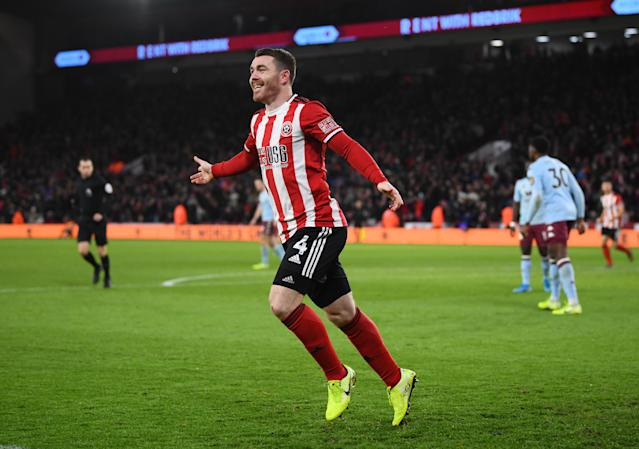 ohn Fleck of Sheffield United celebrates after scoring his team's first goal of the match. (Credit: Getty Images)