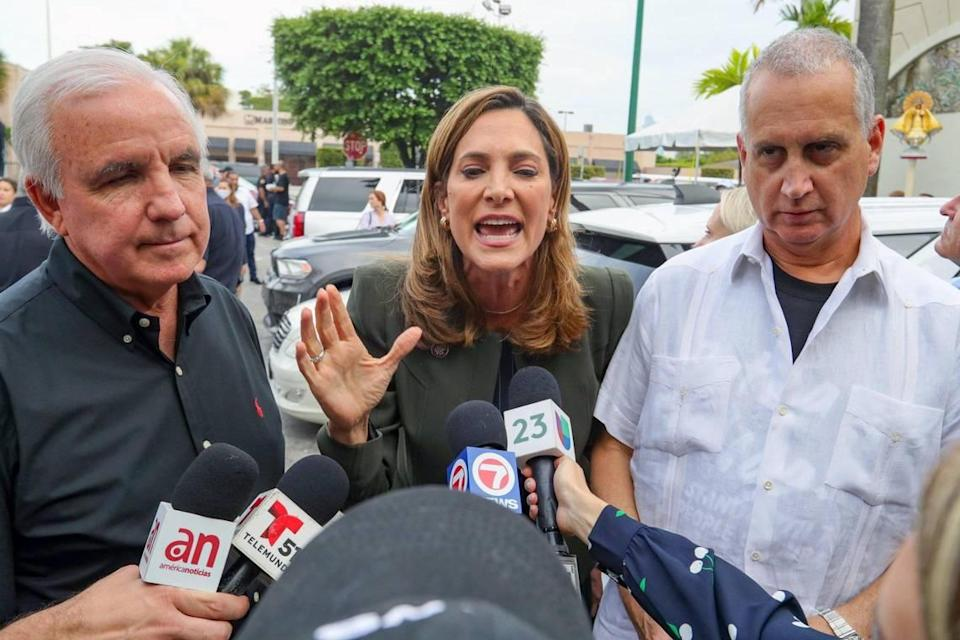 Miami's Republican congressional delegation including, from left, Rep. Carlos Gimenez, Rep. Maria Elvira Salazar and Rep. Mario Diaz-Balart, attends a rally in support of anti-government protesters in Cuba at Versailles Restaurant on SW Eighth Street in Little Havana on Wednesday, August 4, 2021.