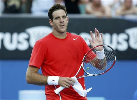 Juan Martin Del Potro of Argentina acknowledges the crowd after defeating