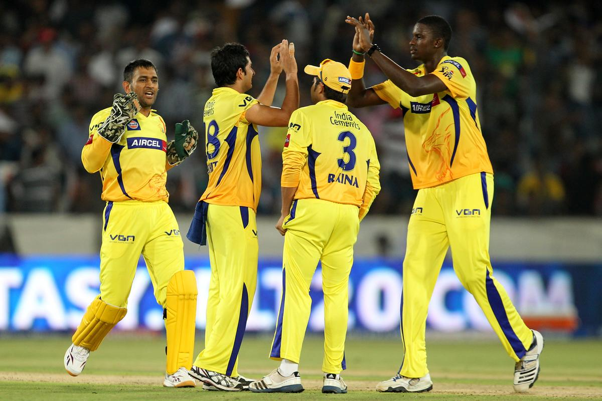 Mohit Sharma celebrates wicket of Darren Sammy during match 54 of the Pepsi Indian Premier League between The Sunrisers Hyderabad and Chennai Superkings held at the Rajiv Gandhi International  Stadium, Hyderabad  on the 8th May 2013Photo by Prashant Bhoot-IPL-SPORTZPICS Use of this image is subject to the terms and conditions as outlined by the BCCI. These terms can be found by following this link:https://ec.yimg.com/ec?url=http%3a%2f%2fwww.sportzpics.co.za%2fimage%2fI0000SoRagM2cIEc&t=1493138479&sig=ZSGytG_toEHonftTw_wASg--~C