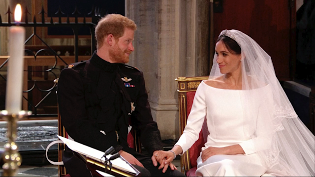 Meghan Markle calms a nervous Prince Harry as the pair sit and listen to the service. (Photo: AP)