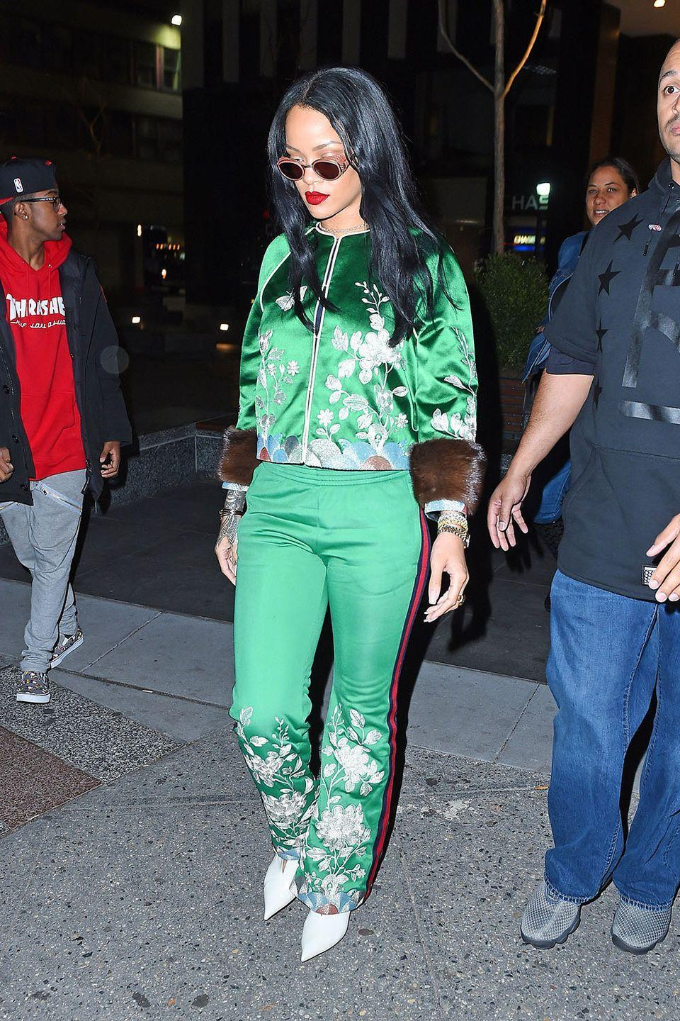 <p>In an emerald embroidered tracksuit by Gucci while out in New York City </p>