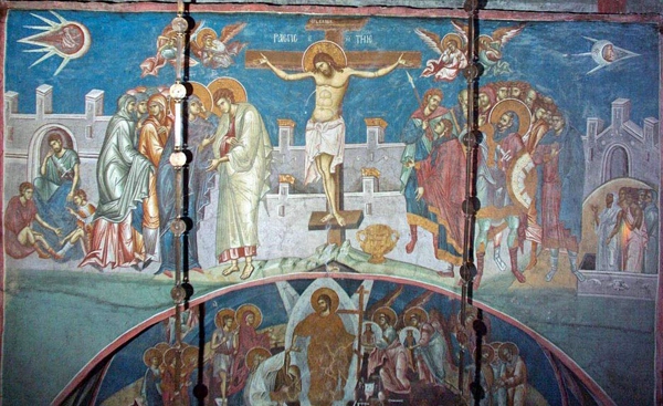 In an interesting painting hung above the altar of the Visoki Decani Monastery in Kovoso, two UFOs are seen on both top corners. In the right corner UFO, the pilot seems to be looking back at the craft behind him. And neither of these pilots have a halo around them, which discards the possibility of them being divine beings or depicting diving objects.