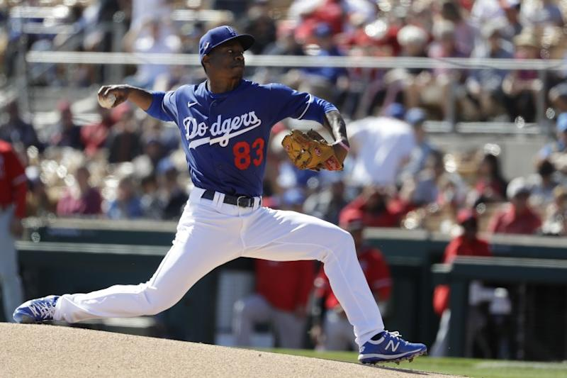 Los Angeles Dodgers starting pitcher Josiah Gray works against a Los Angeles Angels batter.