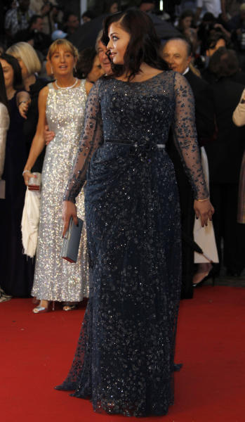 Actress Aishwarya Rai arrives for the screening of Cosmopolis at the 65th international film festival, in Cannes, southern France, Friday, May 25, 2012. (AP Photo/Joel Ryan)