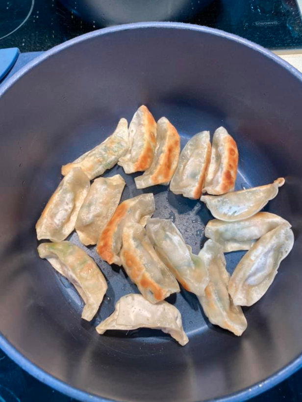 Aldi gyoza in a pan