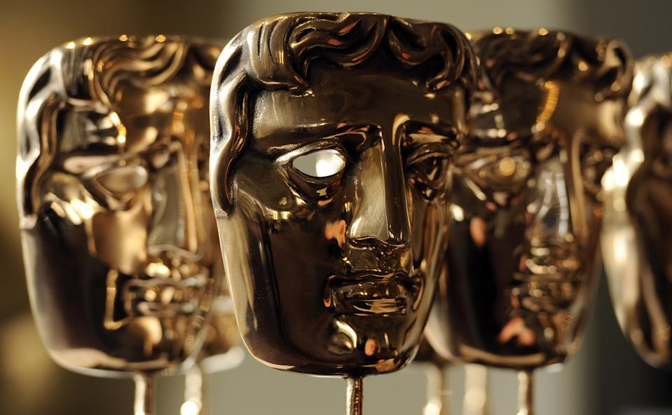 BAFTA Awards to be given to recipients at the upcoming ceremony on display at the academy's offices in Piccadilly, London.   (Photo by Jonathan Brady/PA Images via Getty Images)
